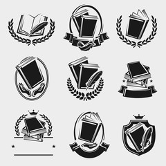 Books label and icons set. Vector