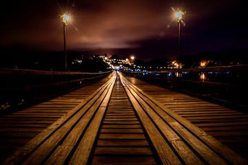 Mon Bridge at night in Thailand