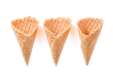 Empty wafer cone cups for ice cream isolated on white background