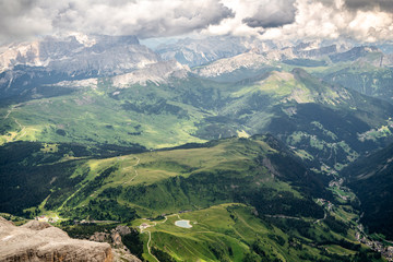 View down to the valley from the Piz Boe in the Dolomites
