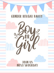 Template Invitation card with the inscription boy or girl on striped background, blue and pink clouds and flags. Vector illustration for Gender reveal party. Ð¡oncept of holiday, pregnancy, motherhood