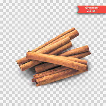 A pile of dry cinnamon bark or sticks on a transparent background. Object Decor for New Year or Christmas. Realistic Vector Illustration