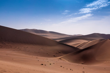 The sand dunes at the Echoing Sand Mountain near the city of Dunhuang, in the Gansu Province, China.