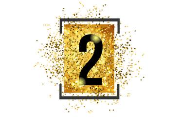 Fototapeta 2 number logo icon design with golden glitter obraz