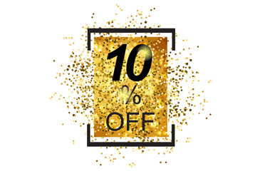 10% off text symbol design with golden glitter