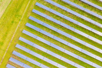 Solar energy power farm. Aerial view of solar panels.