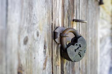 Old padlock hanging on a wooden door
