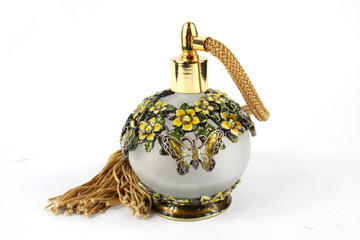 Vintage Perfume Bottle on White Background