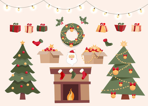 Christmas set with decorative winter objects, two different xmas trees, toys in boxes, gift boxes, balls, garlands, Santa Claus, christmas socks, wreath. Flat cartoon style vector illustration.