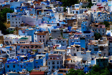 cityscape of famous blue town chefchaouen in rif mountains, morocco