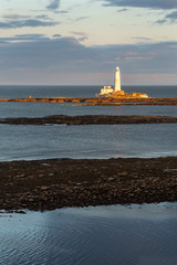 St. Mary's Lighthouse during Sunrise, Northumberland, England, Great Britain