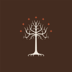 White Tree of Gondor. Isolated on brown background