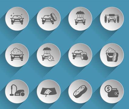 car wash web icons on light paper circles