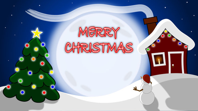 Merry Christmas Holiday Scene with Copy Space. Vector Illustration.