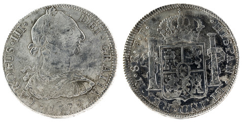 Ancient Spanish silver coin of the King Carlos III. 1779. Coined in Mexico. 8 Reales.