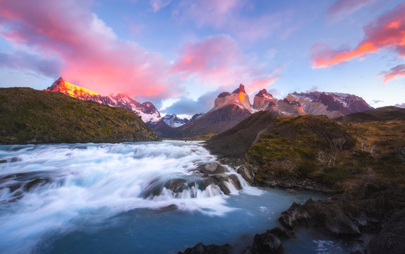 beautiful view of Salto Grande waterfall in Torres del Paine national park