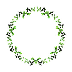 Holly leaves illustration round frame, isolated on white background. Seasonal, festive.