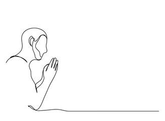 continuous line drawing of prayer hand, linear style and Hand drawn