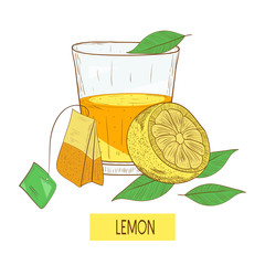 Tea with lemon. A glass with tea, lemon and a bag of tea. Sketch. On a white background.