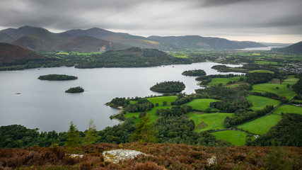 Panoramic View at Castlerigg Fell above Derwent Water, Lake District