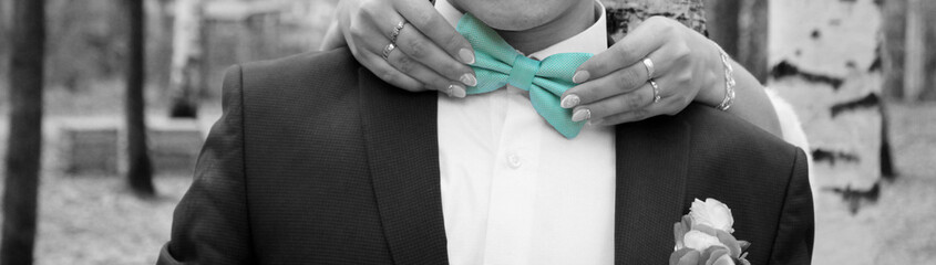 Man the groom in a wedding costume with butterfly. Women's hands holding accessory. Blue color.