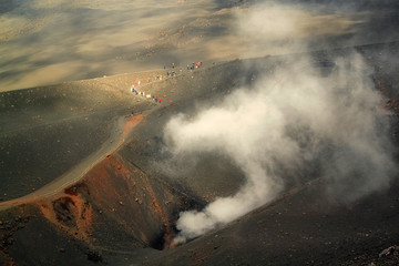 View of landscape on Mount Etna in Sicily, Italy on a cloudy summer day