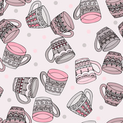 Doodle style seamless pattern with tea cups