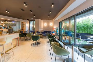 Modern restaurant interior in city center
