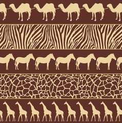 Vector illustration of African style seamless pattern with wild animals