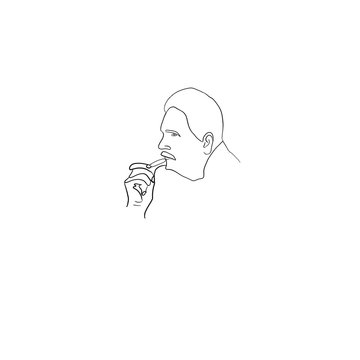 Allama Iqbal sketch. Hand drawn illustration