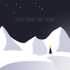 Christmas tree and snow in silent night theme