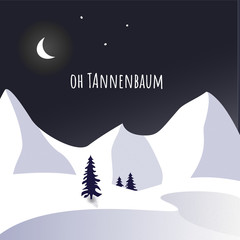Tannenbaum night sky and snow theme with text