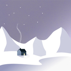 Warm winter cabin at night in mountains and snow