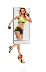 Portrait of professional smiling female runner running marathon, concept virtual reality of the smartphone. going out of the device
