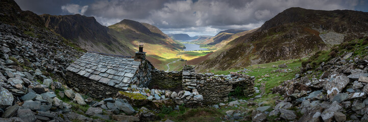 Panorama of Warnscale Bothy above Buttermere Valley, Lake District, England, UK
