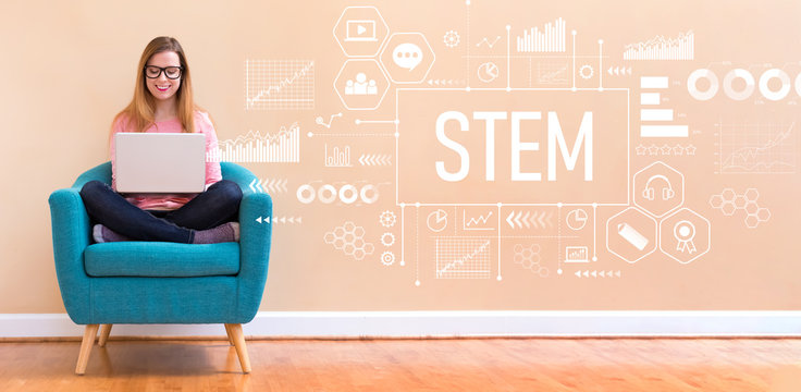STEM with young woman using her laptop in a chair