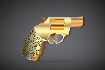 Gold vintage gun icon logo vector