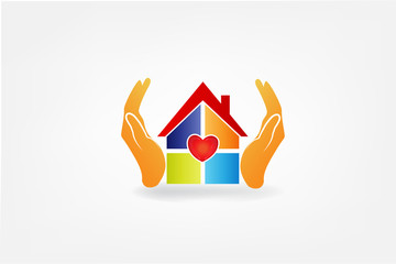 Logo hands and house with a heart love vector image
