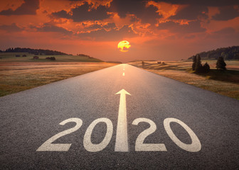 2020 new year at beautiful empty highway at sunset Wall mural