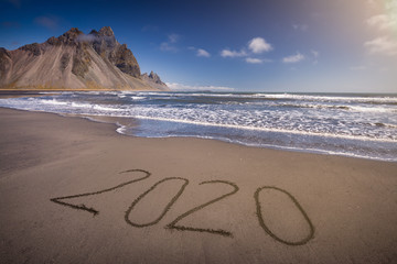 2020 new year on beautiful coastline at idyllic day