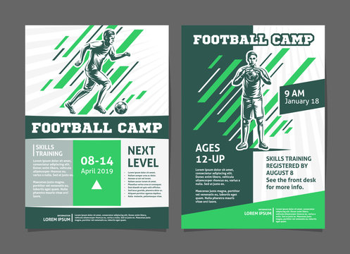 Football, soccer camp posters, flyer with football player - template vector design