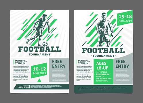 Football, soccer tournament posters, flyer with football player - template vector design