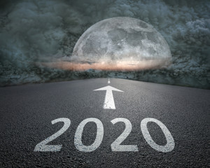 Driving to upcoming 2020 towards the storm at night