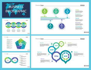 Business inforgraphic design set for marketing concept. Can be used for business project, annual report, web design. Process chart, option chart, flowchart, bar graph, area chart, donut diagram