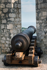 Early 19th century canon in the Spanish Fort on the Hvar island in Croatia
