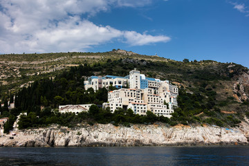 Abandoned 5-star Hotel Belvedere, opened in 1985 as one of the most luxurious hotels on the Adriatic, destroyed in 1991 by the Serbian attack on Dubrovnik.