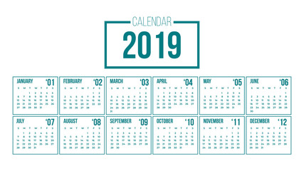 Vector of 2019 new year calendar in clean minimal table simple in modern color,Holiday event planner,Week Starts Sunday.