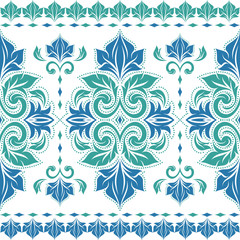 Green and blue floral seamless pattern. Vintage vector, paisley elements. Traditional,Turkish, Indian motifs. Great for fabric and textile, wallpaper, packaging or any desired idea.