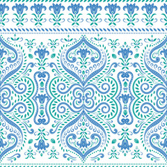 Blue and green floral seamless pattern. Vintage vector, paisley elements. Traditional,Turkish, Indian motifs. Great for fabric and textile, wallpaper, packaging or any desired idea.