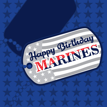 Happy Birthday Marines message on dog tags in United States Flag colors on a blue background
